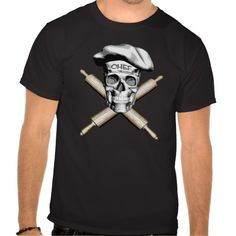 Black and white skull and rolling pins crossbones, wearing a white traditional, puffy chef style hat