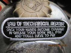 LAW OF MECHANICAL REPAIR PATCH FUNNY BIKER CAFE RACER VESPA BSA LAMBRETTA   eBay