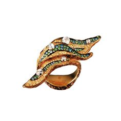Jewellery Theatre yellow gold Leaf ring with coloured diamonds, tsavorites, moonstones and sapphires.