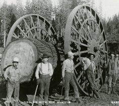 Horse-drawn logging big wheels - Oregon