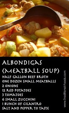 Albondigas Mexican Soup (Meatball Soup) Ground Chicken works great too Mexican Food Recipes, Real Food Recipes, Soup Recipes, Cooking Recipes, Mexican Dishes, Mexican Stew, Mexican Meals, Keto Recipes, Recipies