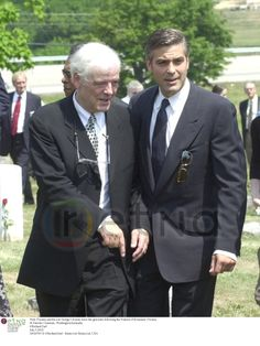 Nick Clooney,and his son George Clooney leave the gravesite following the Funeral of Rosemary Clooney St Patricks Cemetary, Washington,Kentucky ©Richard Earl July 5,2002.