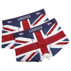 """Set di 2 paia di boxer """"Primo Source"""" di #LonsdaleLondon con stampa allover della bandiera inglese e logo ricamato sulla fascia in vita."""