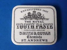 SMITH AND GOVAN TOOTH PASTE POT LID AT ANDREWS Tooth Paste, Pot Lids, National Trust, Tin Boxes, Crock, Teeth, Pots, Bottles, Advertising