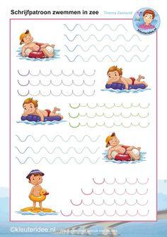 * Schrijfpatroon zwemmen in de zee! kleuteridee.nl: