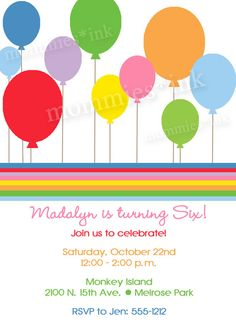 Mod Rainbow Party Balloons Birthday Invite  by MommiesInk on Etsy, $12.50