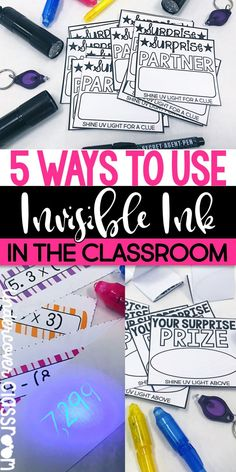 Use invisible ink and UV flashlights to add some excitement to your classroom. Here are 5 ways to use invisible ink to reel in your students with self-checking task cards, surprise prizes and partners, plus more. Free downloads included.