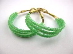 mint green beaded hoop earrings