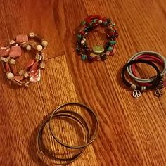 Four sets of 3 bracelets Four different bracelet sets with 3 pieces each. Will provide extra information if needed. Hardly worn. Jewelry Bracelets