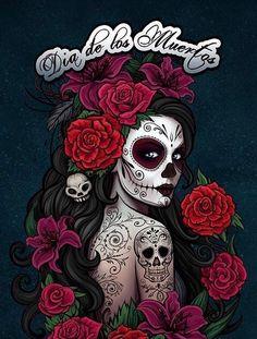 Catrina illustration the nightmare before christmas Skull Candy Tattoo, Candy Skulls, Sugar Skull Tattoos, Ear Tattoos, Celtic Tattoos, Sleeve Tattoos, Evil Skull Tattoo, La Muerte Tattoo, Catrina Tattoo