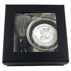 Great gift idea for him: Classic Shaving Set includes a mixed badger hair shave brush with faux ebony handle, chrome brush stand and stainless shave bowl, one handcrafted shave puck (variety of your choice) and lathering instructions.  The soap is all-natural, with moisturizing oils & butters, clays & essential oils -- no harmful chemicals, artificial dyes, or synthetic fragrance oils.  $58.50.  Also available on Amazon.