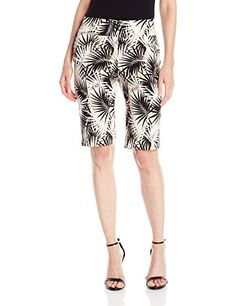 Women's Pull-on Palm Print Solar Millennium Tech Shorts Faux fly detail with faux front pockets and functional rear pockets 11 inches inseam Women's Shorts, Casual Shorts, Coffee Store, Shorts Outfits Women, Short Blonde, Palm Print, Bustiers, Corsets, Patterned Shorts