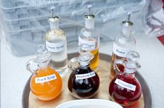 DIY flavoured lemonade with homemade syrups in cute bottles - where is the YES button!