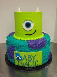 So cute Monsters Inc theme baby shower cake for a baby boy from