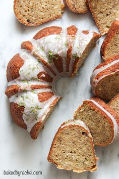 Moist banana bundt cake with sweetened coconut throughout and a tart lime glaze. Recipe from @bakedbyrachel