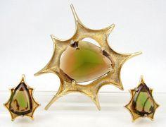 Space Madness - Vintage BSK Signed Modernist Atomic Starburst Brooch & Clip Earrings