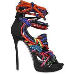 DSQUARED2 140mm Swarovski Rope & Suede Sandals ($2,845) ❤ liked on Polyvore featuring shoes, sandals, multi, high heel sandals, dsquared2 shoes, high heel platform sandals, colorful sandals and colorful shoes
