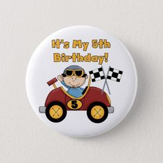 Red Race Car 5th Birthday Tshirts and Gifts Pinback Button Happy Birthday Kids, Baby Birthday, Personalized Posters, Childrens Party, Custom Buttons, Paper Plates, Rock Painting, Badges, Painted Rocks