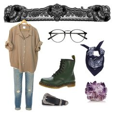 """""""Sin título #10"""" by jnxlzx ❤ liked on Polyvore featuring McCoy Design, Topshop, Dr. Martens and R13"""