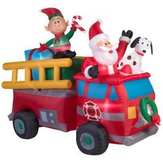 2016 Santa and Friends in Firetruck Christmas Inflatable.  New Gemmy Christmas Inflatable for 2016....Santa in a Large Firetruck with Elf and Dalmatian wishing Christmas cheer to all.  This Large North Pole Firetruck Christmas inflatable extends out 7 feet wide!