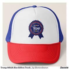 1a20b47a86f Trump MAGA Blue Ribbon Trucker Hat https   www.zazzle.com
