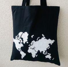 Jute/Stoffbeutel  Schwarz Kontinente weiss von EdyDarkShop auf Etsy
