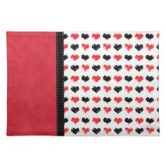 Retro Black & Red Hearts Place Mat