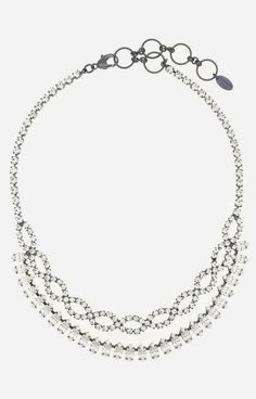 Nicole Miller  Elizabeth Cole Navette and Crystal Braided Necklace