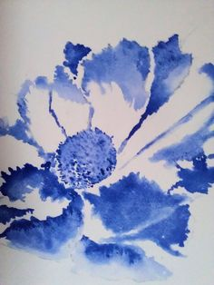 blue watercolor flower ny madelane