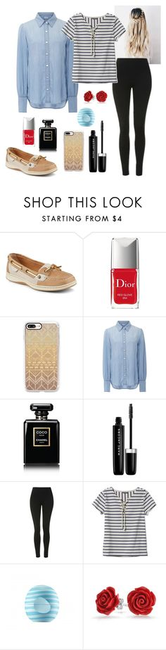 """Untitled #31"" by kasey9486 ❤ liked on Polyvore featuring Sperry, Christian Dior, Casetify, Frame Denim, Chanel, Marc Jacobs, Topshop, L.L.Bean, Eos and Bling Jewelry"