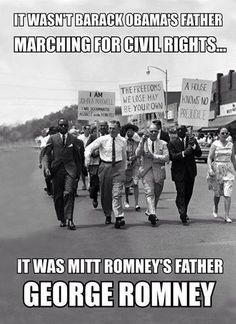 It wasn't Barack Obama's father marching for civil rights...libs don't even realize they are now and have always been the largest group of racists in America.