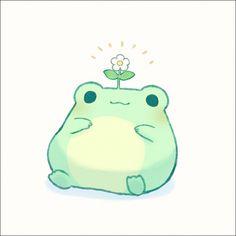 Cute Kawaii Drawings, Kawaii Doodles, Cute Doodles, Cute Animal Drawings, Kawaii Art, Frog Drawing, Arte Sketchbook, Frog Art, Drawing Ideas List