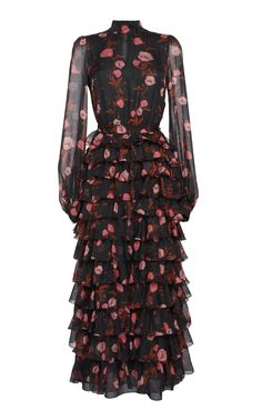 Shop Floral Printed Silk Gown With Tiered Ruffle Skirt. Giambattista Valli's high neck gown features a fitted bodice, long sleeves and a full length tiered ruffle skirt. Plus Size Maxi Dresses, Day Dresses, Casual Dresses, Modest Fashion, Fashion Dresses, Parisian Chic Style, Mode Plus, Dress Vestidos, Silk Gown