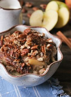 Eating something that tastes like apple pie before 8am is thrilling, but it's the health benefits of this vegan (and gluten-free!) slow cooker oatmeal that really have me amped. A serving of steel cut oats packs 5 grams of protein, 4 grams of fiber, and only 150 calories. And adding fiber and antioxidant-rich apples, heart healthy coconut oil, and super food hemp seeds into the mix guarantees .....