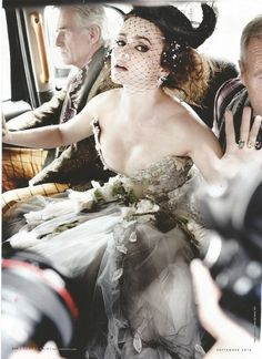 Helena Bonham Carter in a Rolls Royce Phantom. Photographed by Mario Testino.Shining Armor, Huge Snakes, and Sparkling Jewels: The Year in Vanity Fair Photography Helena Bonham Carter, Helen Bonham, Helena Carter, Mario Testino, Fair Photography, Glamour, Vanity Fair, Actors & Actresses, Nice Dresses