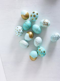 Gilty Pleasures: Blow out your eggs and decorate with extra-fine gold sharpie.  Find other Easter crafts at familycircle.com #easter