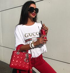 Lady Dior bag red