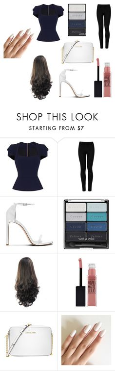 """""""Let rock the town"""" by makenziewoods ❤ liked on Polyvore featuring Roland Mouret, Wolford, Stuart Weitzman, Wet n Wild, Maybelline and Michael Kors"""