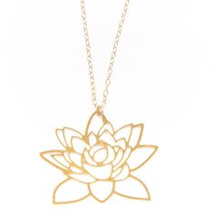 Historically, a symbol rich in meaning, we love the depth of this gorgeous lotus flower design. The highly polished pendant sits against a delicate yet wearable chain creating a day to day statement. We'll be layering our lotus with a long pendant chain.   Details and Dimensions: Brass plated in 24k gold. The chain is gold filled and measures 42 cm with extra 7cm chain for length adjustments The size of the pendant is approx 4cm x 4cm.    D