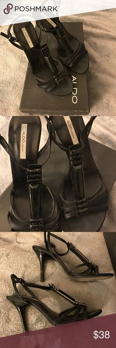 ALDO  black heels with jewel front t-strap Black heels with jeweled T-strap. Ankle strap. Includes box and replacement heel screws. Aldo Shoes Heels