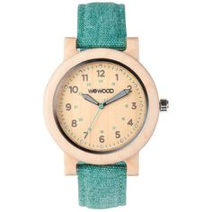 WeWood Wooden Watch - Dehna Beige Cyan (wwood828DBC) ($140) ❤ liked on Polyvore featuring jewelry, watches, wewood watches, wooden jewelry, wooden watches, wood watches and wooden wrist watch