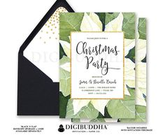 CHRISTMAS PARTY INVITATION White Poinsettia Gold Glitter Holiday Party Card Green Flower Confetti Ready Made or DiY Printable - Noriella style. Black envelopes and matching envelope liners also available. Only at digibuddha.com
