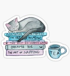 cat & books & tea sticker