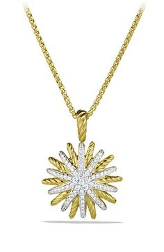 David Yurman 'Starburst' Small Pendant with Diamonds in Gold on Chain available at #Nordstrom