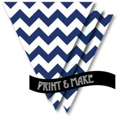 FREE! Printable navy blue & white chevron bunting by Style My Party www.stylemyparty.co.uk