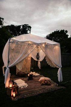 super 44 cozy bohemian living room decoration ideas - Dekoration Ideen - Another! Backyard Camping, Diy Camping, Backyard Canopy, Camping Ideas, Backyard Ideas, Tent Camping, Nice Backyard, Canopy Outdoor, Beach Camping