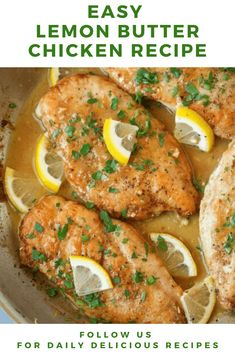 Lemon Butter Chicken Recipe - Lemon Butter Chicken is a must try the recipe! I'm all about lemon chicken so when you add a butter pan sauce to the mix you know it's going to be unbelievably tasty. Orange Recipes, Lemon Recipes, Healthy Chicken Recipes, Cooking Recipes, Chicken Fillet Recipes, Paleo Recipes, Lemon Butter Chicken, Recipe For Lemon Chicken, Easy Sauce For Chicken
