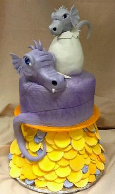 Dragon cake- the big dragon is fine the little one should be free standing or curled and no egg-