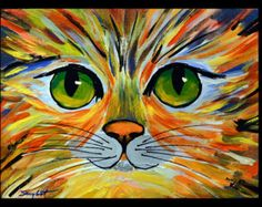 Colorful Kitty Original Abstract Cat Portrait Painting Acrylic on Canvas by Andrzej Smykot AndyArtGallery Simple Acrylic Paintings, Acrylic Art, Art Floral, Images D'art, Animal Paintings, Cat Art, Painting & Drawing, Canvas Art, Painting Canvas