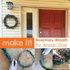 rosemary wreath for Anzac day frangrant remembrance garden aboutthegarden Corn Dolly, Ww1 History, Poppy Craft, Anzac Day, Remembrance Day, Balloon Animals, Day Book, Egg Decorating, Craft Activities